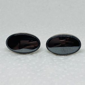 Hematite oval cufflinks classic retro cuff links